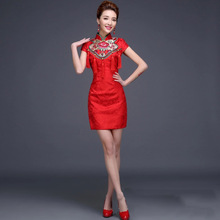 2016 Fashion Red Cheongsam Dress Short Bride Wedding Qipao Dress Chinese Traditional Dress Vestido De Festa Qi Pao Free Shipping