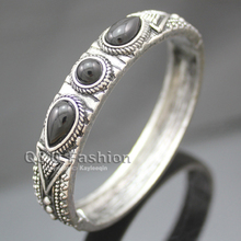 Vintage Silver Aztec Dots Triangle Black Stone Hinged Bracelet Bangle Cuff Jewelry 2017 New