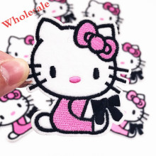 Wholesale 10PCS Hello Kitty Cat girls Embroidered Patch Iron on Sewing on Applique Patch Clothes Shoes Bags DIY Patches