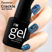 Paraness Soak Off UV 8ml Nail Polish Crackle Gel Lacquer Professional Cracking Nail Varnish Perfect Semi Gel luck Colors Crack(China)