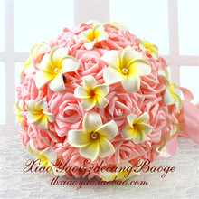 [25cm ] Hot sale Retro Pink Wedding Bride Flower Bouquet Artificial Bride Holding Flowers Ball Rose Wedding(China)