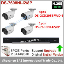 Buy Hikvision DS-7608NI-I2/8P 8CH 8ports POE + 4pcs Hikvision DS-2CD2055FWD-I H.265 5MP Network mini Bullet CCTV security Camera for $837.90 in AliExpress store