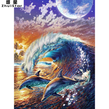 New 5D DIY Diamond Painting Dolphin Wave Embroidery Full Square Diamond Cross Stitch Rhinestone Mosaic Painting Home Decor Gift