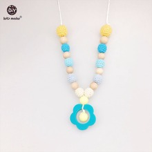Let's Make Baby Nursing Necklace Baby Shower Gift Wooden Teether Necklace Chew Beads Crochet Beads Silicone Flower Necklaces
