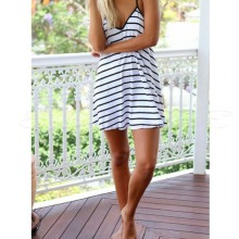 1pcs Fashion Female Summer Cool Black And White Stripes Loose V-neck Halter Dress -Y107