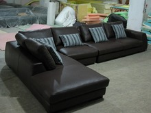 2015 Modern Furniture Genuine Leather Sectional Sofa Set with cushions shipping to your port
