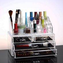 4 Drawer Acrylic Clear Women Make Up Cosmetic Organizer 16 Slots Nail Oil Display Holder Stand Box Jewelry Storage Accessories(China)