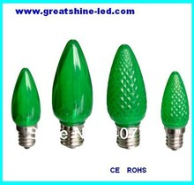 free shipping smd 5050 C9 led christmas bulbs AC120V E17 base green color used for holiday party and christmas lighting(China)