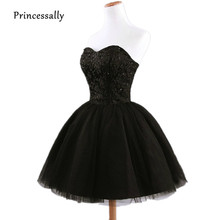 Black Bridesmaid Dresses Short Puff Sweetheart Lace Beading Tulle Bride Wedding Party Guest Bridesmaid Gown Veatido De Festa