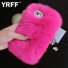 YRFF High Quality Real Rabbit Hair Case Fur Rhinestone Bling Plush Furry Hard Cover For iPhone 5S 5 SE 6 6S 7 plus 5.5 inch Case(China)