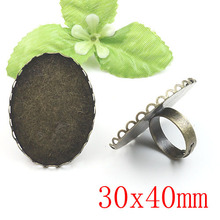 100 pcs Antique Brass Pad Open Adjustable Filigree RING Base Oval Cabochon Size:30x40mm