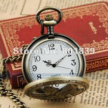 5PCS Retro Bronze Tone Eagle Big Case Men's Pocket Watch With Chain Nice Gift Wholesale Price H166