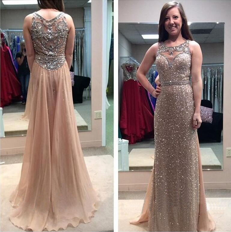 639b176b29f9 Sparkly Rose Gold Sequins Long Prom Dresses Sheer Illusion Back with  Crystal Beadings Champagne Chiffon Evening Gowns Nude