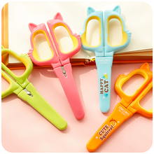 JD43 Cute Kawaii Safe Paper Cutting Scissors Scrapbooking Craft Paper Cutter Paper Craft Mini Stainless For Kids School Supplies(China)