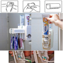 Bath Automatic Toothpaste Dispenser Set White Tooth Brush Holder Squeezer Toothbrush Holders Bathroom Accessories(China)