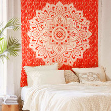 Mandala style orange wall hanging cloth ,multi-function tapestry 150*200cm, table cloth, bed cover, decorative cloth,blanket(China)