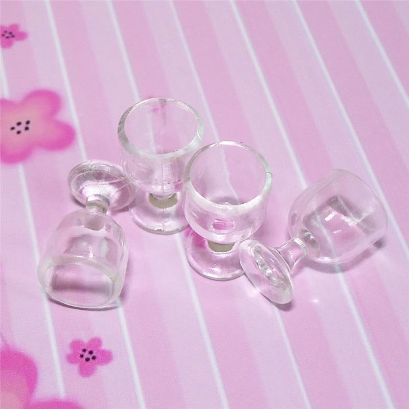1:12 Scale Plastic 4Pcs Transparent Goblet Miniature Mini Wine Cup Dollhouse Craft Home Decoration Glass Model Plastic DIY Parts 9