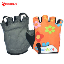 Boodun Cycling Gloves Child Colorful Floral Sports Gloves Half Finger Bike Skiing Short Gloves Breathable Summer Bicycle Gloves(China)