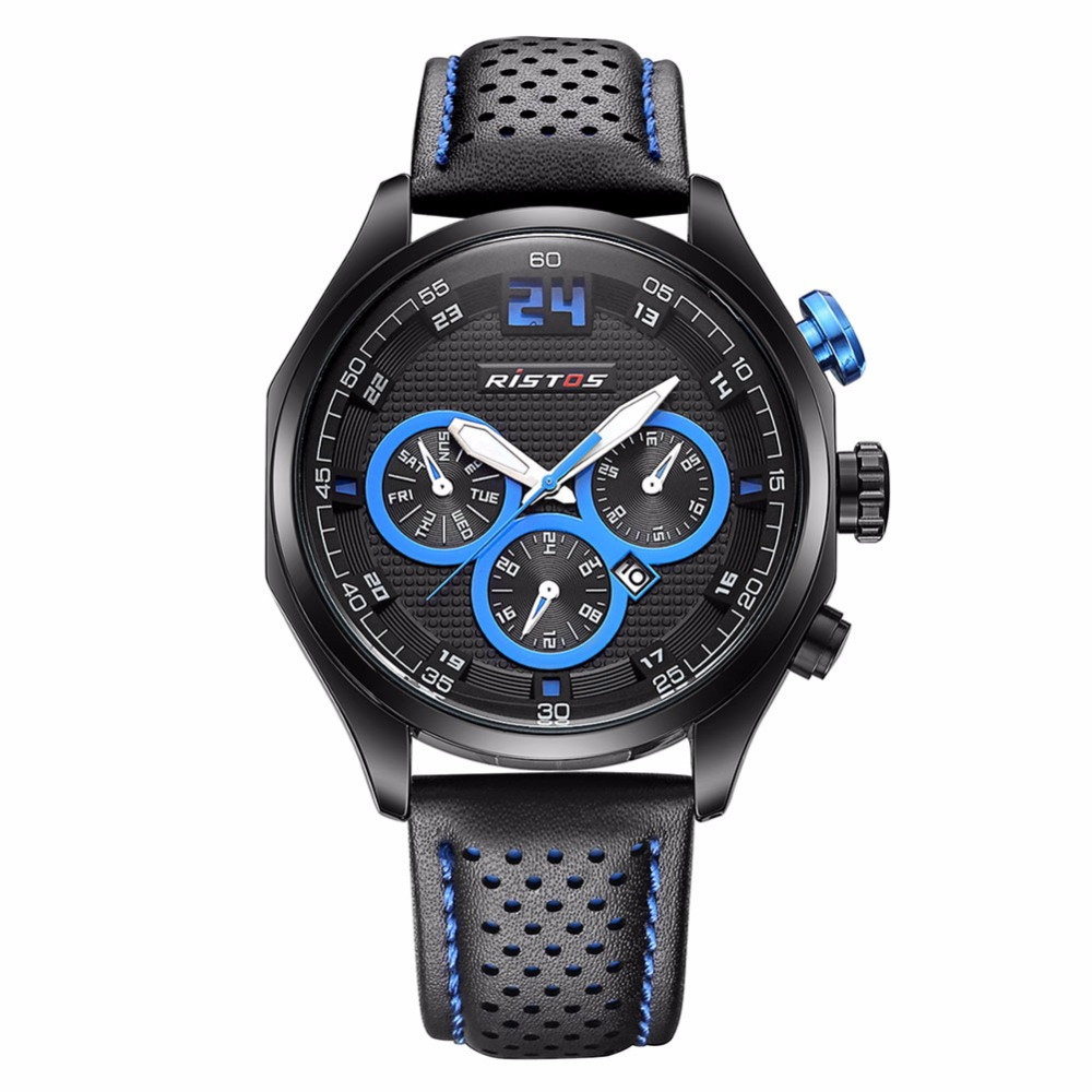 Ristos Brand Hour Luminous Display Black Leather Band Strap Army Mens Analog Sport Calendar Date Quartz Wrist Watch / WCH0029<br><br>Aliexpress