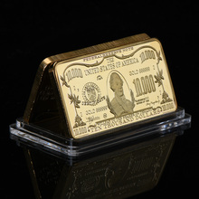 WR 10000 Dollar Bill Pure 24K Gold Bar US Paper Money Bar Plated Gold Banknote Boyfriend Collection Gifts