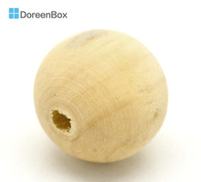"Doreen Box 50PCs Natural Round Wood Spacer Beads For DIY Jewelry Making 20mm(3/4"") (B18292)"