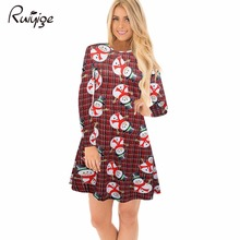 2017 Ruiyige Hot Products Christmas Strip Women Dresses Long Sleeve Printing Funny Snowman Dress O-Neck Swing Party Vestidos(China)