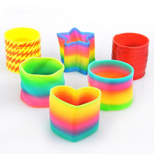 1Pcs Funny Rainbow Circle Plastic Coil Circle Folding Spring Coils Kids Baby Creative Magical Educational Toy Gift TY0245