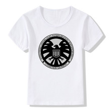 2017 Children Agents of SHIELD Print Fashion T Shirt Casual Baby Cool Clothing Kids Girls Boys Short Sleeve White T-shirt,HKP475(China)