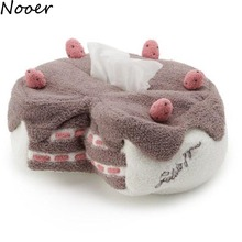Nooer New Arrival Sweet Cake Tissue Box Plush Toy Soft Strawberry Cake Paper Case Car Home Decor Birthday Gift For Girls Kids(China)