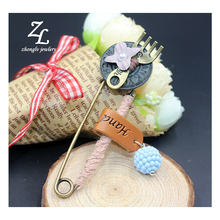 handmade vintage brooches for men copper pins 2017 ZHONGLV swing beads cotton flowers brooch wedding female badge jewelry(China)