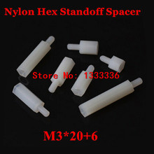 100pcs M3*20+6 Nylon Hex Standoff Spacer Male - Female 6mm Thread / Plastic Hexagon Pillar Screw Nut