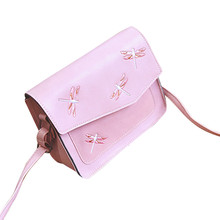 2017 Fashion fresh dragonfly Animals Embroidery Womens Handbag Shoulder Bags Purse Wallet Purse PU Leather Messenger Bag Brown