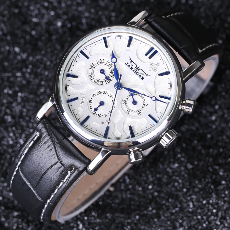 JARAGAR Uomo Mens 6 Hands Auto Mechanical Leather Dress Diamond Mechanical Wrist Watch<br><br>Aliexpress