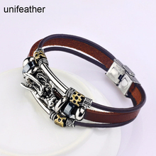 unifeather Handmade Braided Chunky Leather Bracelets Bangles Multi Elements Chinese Dragon Wrist Bracelet Unisex Jewelry Male