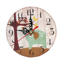Newest  Wall Clock Vintage Style Silent Antique Wood Clocks Design Home Room Decoration Time 1PC 12cm C7801