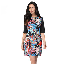 May New Arrival Big Promotion Fashion Women Print Dresses Summer Autumn O Neck Half Sleeve Plus Size Mini Shift  Dress