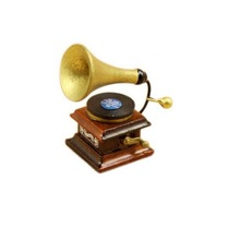 New Arrival Vintage Phonograph Family Furniture 1:12 Dollhouse Miniature Accessories Brown&Gold Hot Sale