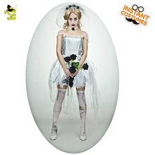 2017 Adult Female Ghost Bride Costume Halloween Zombie Black Corpse Scary Bride Fancy Dress Costumes For Cosplay(China)