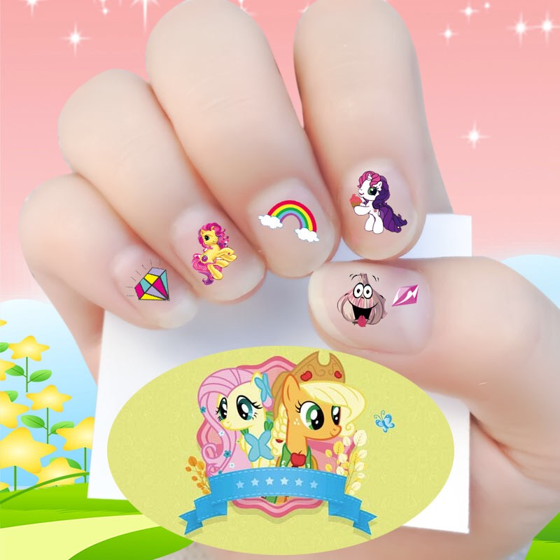 2017 New arrive korea Waterproof 3D Nails Sticker my little pony 15 Design Nails Foil Sticker Decor Decals make up for children(China)