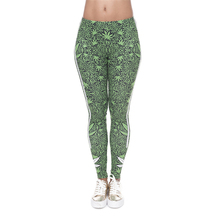 New 3D Print Leggings Girl Causal Green Leaf Stripes Jeggings Sexy Leggins Slim Tayt Fitness Legging Calzas Mujer Soft Legins(China)