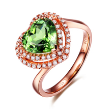 2 CARAT HEART SHAPE 0.2ct Diamond  Green Gemstone Heart Wedding Ring For Women 18K White Gold Ring Fine Jewelry Engagement/Party