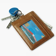Wholesale Leather Credit Card Holder Driving Licence Card Case Thin Card Wallet Bus Card Pack ID Pocket Window Key Ring Cheap(China)