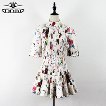 back crosses flowers print 2017 high quality summer runway dress elegant celebrity fashion dresses top quality