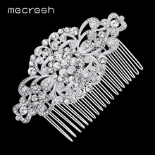 Mecresh Gorgeous Top Crystal Wedding Hair Accessories Bridal Hair Jewelry Flower Combs Best Gift for Christmas New Year FS069(China)