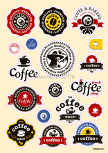 Coffee shop cafe logo Doodle PVC Waterproof Car sticker bomb Luggage Suitcases Guitar Skateboard laptop decals