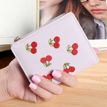 Fruit Cherry Best Quality Beauty Short Mini Wallet Large Capacity Card Holder Two Holder Zipper Hasp Purse Sweet Women Money Bag(China)