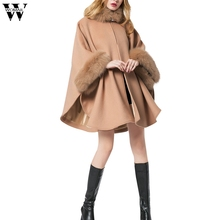 WOMAIL 2017 Christmas Fashion Flare Sleeve Faux Fox Fur Collar Winter Wool Cloak Cape Coat Poncho Long Overcoat D25W30(China)