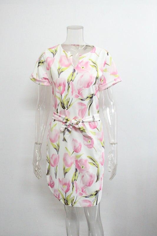 2018 Spring Summer Printed Women Dress O-Neck Hem Side Split Ladies Dresses Tie Sashes Short Sleeve Casual Sexy Female Vestidos 16