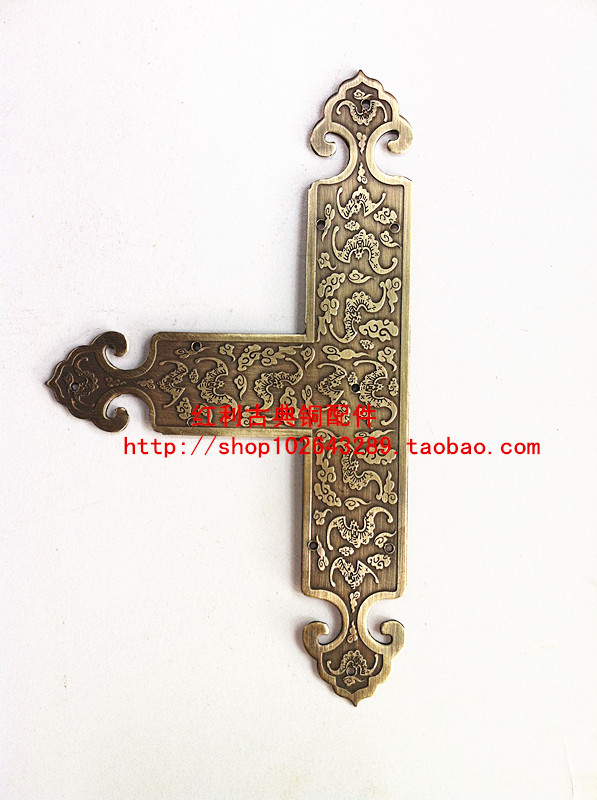 Classical bronze antique copper bonus copper fittings Chinese door trim strip table desktop type T angle<br>