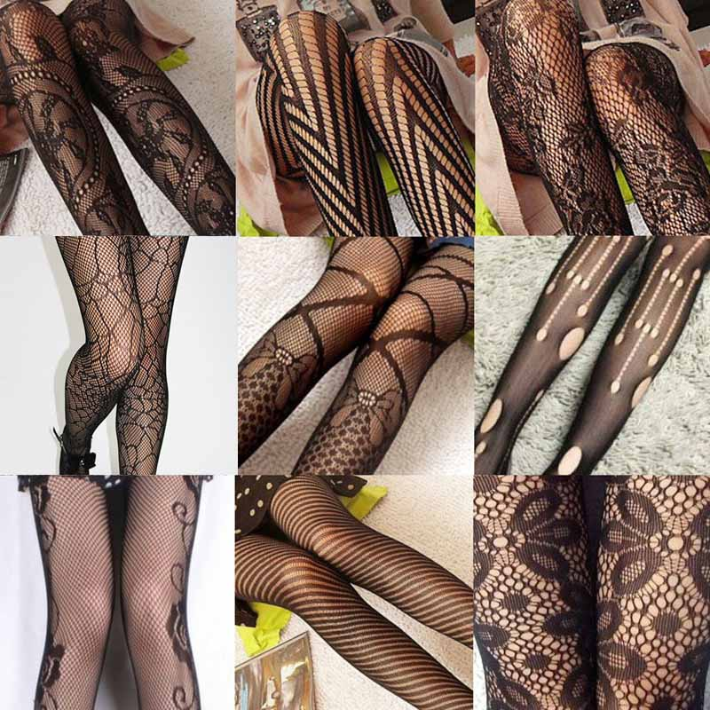Sexy Women's or Girls, Core Wire Jacquard Club Panties, Knitting Net Thin Pattern Tattoo Fishnet Stockings 8